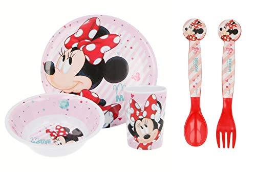 Juego de vajilla de melamina de color sin BPA, 5 piezas, juego de platos, cuencos, vasos, cuchara y tenedor para niños