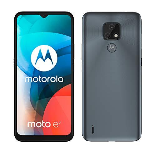 Motorola Moto E7 - Smartphone de 6.5' (HD+ MAX Vision, Sistema de cámara Dual de 48 MP, batería de 4000 mAH, Dual SIM, 2/32GB, Android 10), Gris [Versión ES/PT]