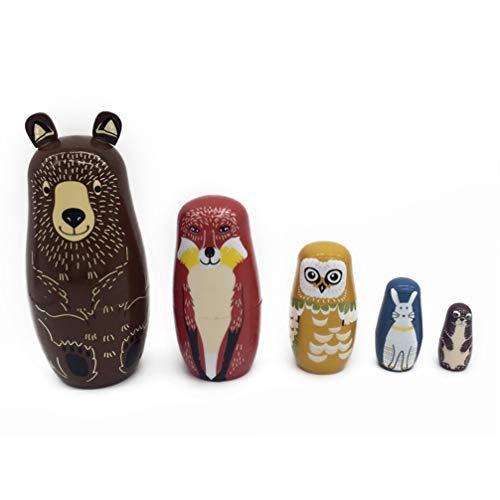 ULTNICE 5 Stück Russische Matroschka-Puppen Bärendesign Stapeln der Holzpuppe