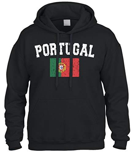 Gorgasy Sudadera con Capucha con la Bandera de Portugal desgastada descolorida-XXXL