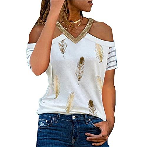 Camiseta De Verano con Cuello En V Y Hombros Descubiertos, Camiseta Informal para Mujer, Camiseta Holgada De Manga Corta, Jersey