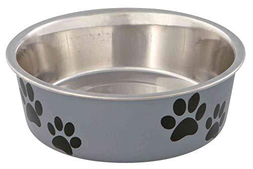Trixie - Ciotola in acciaio con rivestimento in plastica per cani, Colori Assortiti, 0.4 l, ø14 cm, 1 pezzo
