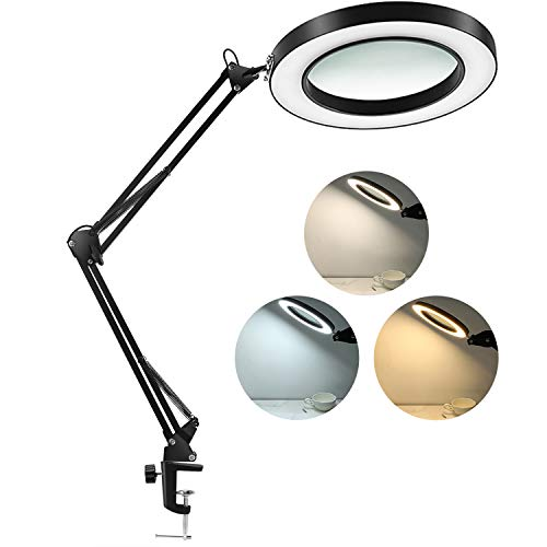 LANCOSC LED Magnifying Lamp with Clamp, 1,500 Lumens Stepless Dimmable, 3 Color Modes, 5-Diopter 4.3 Real Glass Lens, Adjustable Swivel Arm Lighted Magnifier Light for Reading Craft Close Work-2.25X