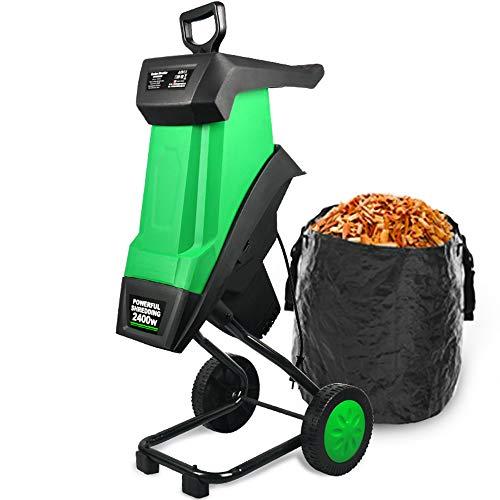 WAWZNN Biotrituradora De Jardín 2400W Trituradora De Ramas con Cable De Alimentación De 10 M Y Bolsa De Reciclaje De Jardín, Ruido Bajo, para Mejorar La Salud del Jardín
