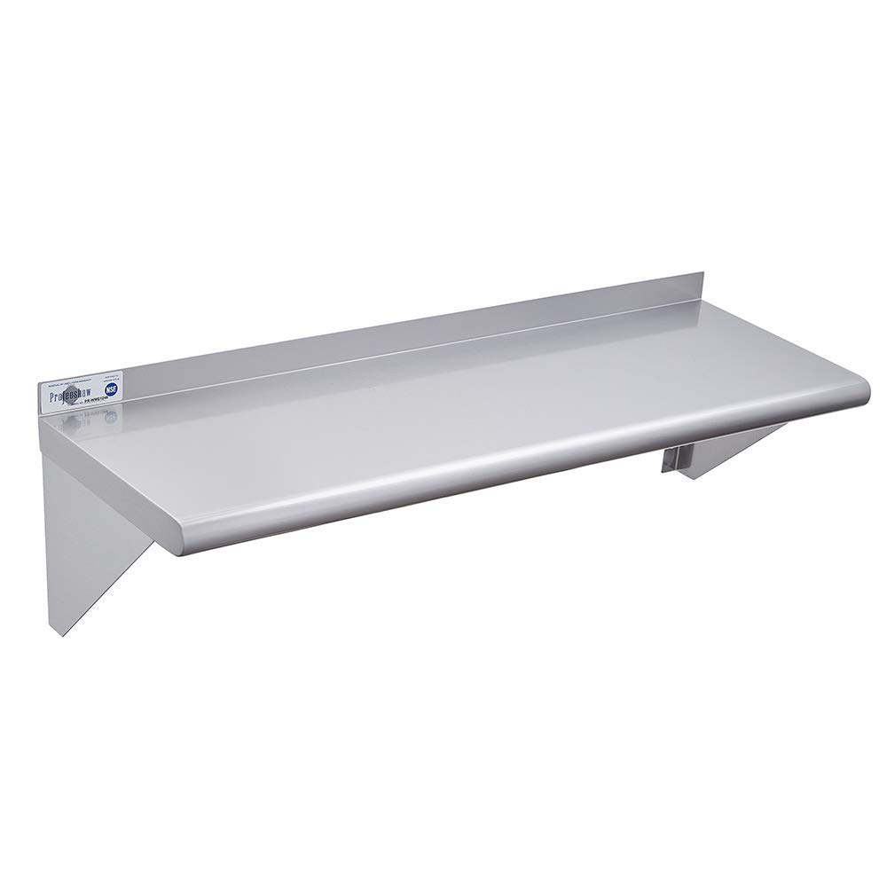 """Profeeshaw Stainless Steel Shelf Wall Mounted 14/""""/×60/"""" NSF Certified Commercial Metal Shelving with Backsplash and 2 Brackets for Restaurant Kitchen and Garage Bar Utility Room"""