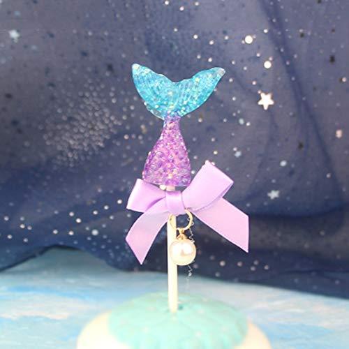 MMD Dream Pearling Gradient Gâteau Topper Fête d'anniversaire Perles Fishtail Dessert Décoration Toile De Droite Food Logo Gâteau Bunting 5pcs / Set (Color : Purple)