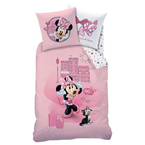 CTI Minnie Mouse - Juego de cama de franela (135 x 200 y 80 x 80 cm, 2 piezas, 1 funda de almohada de 80 x 80 cm, funda nórdica de 135 x 200 cm)
