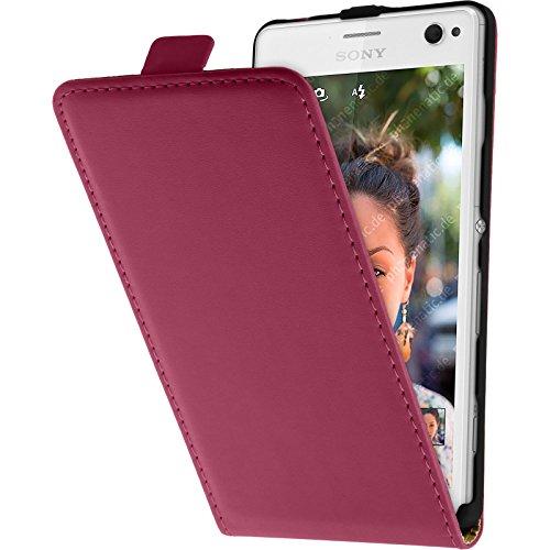 PhoneNatic Kunst-Lederhülle kompatibel mit Sony Xperia C4 / Dual - Flip-Hülle pink + 2 Schutzfolien