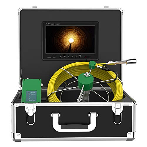 Pipe Inspection Camera, Anysun 9 Inch LCD Monitor DVR Industrial Sewer Camera IP68 Waterproof Portable Drain Duct Pipe Camera Snake Video System 1000TVL HD Color Inspection Camera (165ft/50m-DVR)