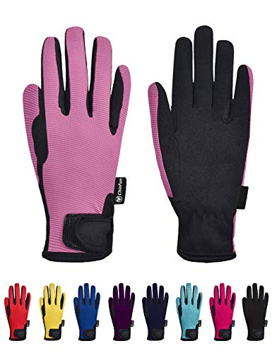 ChinFun Kids Horse Riding Gloves Child Winter Gloves Cycling Gloves Windproof Warm Gloves Perfect for Cycling Riding Running Skiing and Winter Outdoor Activities Pink Size S 10-12