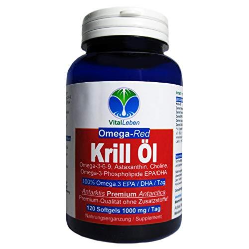 Krillöl ANTARKTIS OMEGA-Red 120 Krilloil Softgels 1000mg/Tag. Omega 3-6-9 EPA/DHA Fettsäuren + Phospholipide + Astaxanthin. OHNE ZUSATZSTOFFE. 26429-1