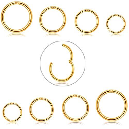 Adramata 6-8 Stücke 6-12mm Edelstahl 16g 18g Knorpel Creolen für Männer Frauen Nasenring Helix Septum Couch Daith Lip Tragus Piercing Schmuck Set