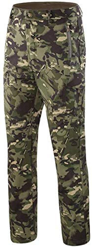 OLOEY Tactical Camouflage Softshell-Hose für Herren Fleecegefütterte Cargohose Winddichte wasserdichte Skihose Lange Jagdhose (CP Green,XL)