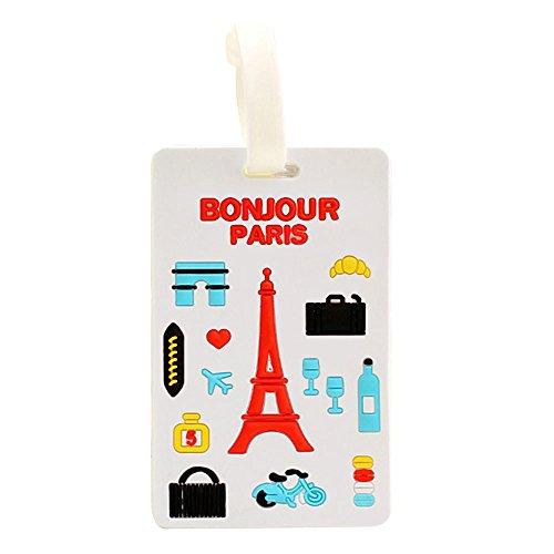Distintivo Equipaje Bonjour Paris Etiqueta identificativa de Maletas, Bolsas Playa, Mochilas, maletines para Viajes, campamentos, excursiones. Novedad Verano 2018 CHIPYHOME