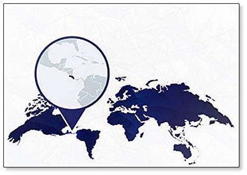 Costa Rica Gedetailleerde kaart gemarkeerd op Blauwe Afgeronde Pin Illustratie Koelkast Magneet