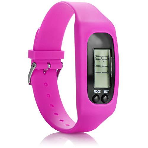 com-four® Reloj Deportivo con podómetro - Muñequera de Fitness con Contador de calorías - Reloj de Fitness con medición de la Distancia - Activitytracker sin Bluetooth (Rosado)