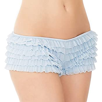 Womens Plus Size Lingerie Blue Ruffle Bottom Boyshort Panties - Fits Size 18-22