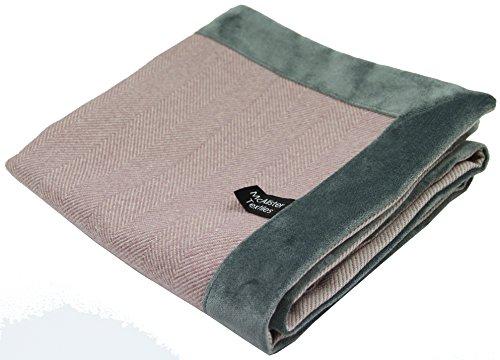 McAlister Textiles Herringbone Boutique - Camino de cama (50 x 220 cm), color lila y morado con ribete de terciopelo gris carbón, textura cepillada, elegante para cama y sofá, 50,8 x 88 pulgadas