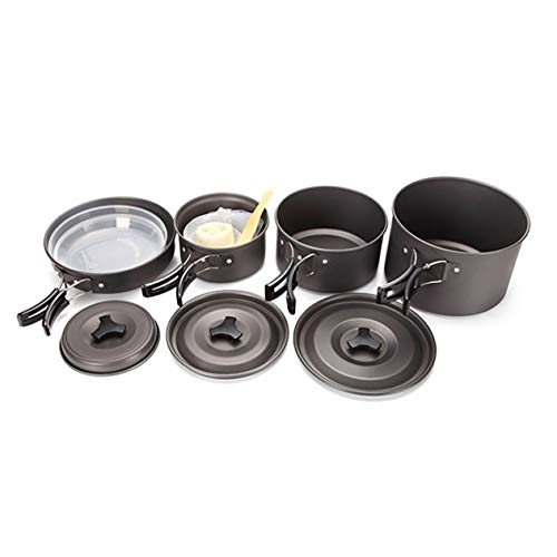 Goldyqin Ds5004-5 Utensilios de Cocina para Acampar Viajar Picnic Fuerte Senderismo Traje de Viaje Olla al Aire Libre Olla de Picnic para cocinar al Aire Libre – Gris – 1 Tamaño