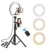 10 inch Selfie Ring Light with Tripod Stand & 2 Phone Holders, EPULY Dimmable Led Beauty Camera Ringlight for Makeup/Photography/YouTube Videos/Vlog/TIK Tok/Live, Compatible with iPhone & Android