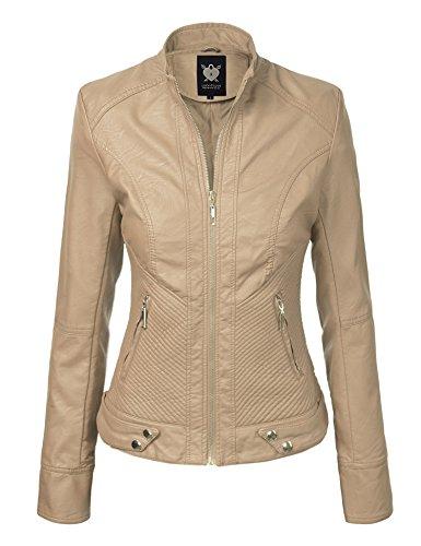 Lock and Love LL WJC747A Womens Dressy Vegan Leather Biker Jacket L Khaki