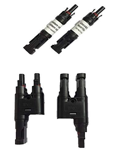 GWSOLAR ソーラーパネル用【MC4対応 Y字型 + 逆流防止ダイオード付きコネクター 4点セット】太陽光パネル並列接続用:Off-gridシステム構築時に、逆流防止ダイオード付きコネクターの使用制限:(1)システム電圧は 45V以下;(2)Iscは15A以下。GWソーラー (逆流防止+MC4対応Y型 4点セット)
