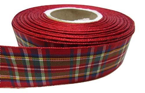 Beautiful Ribbon 1 Rouleau de 25 mm 2.5cm 2.5cm x 25 mètres de Ruban de Tartan Rouge Double Face Classiques Royal Stewart 25 mm