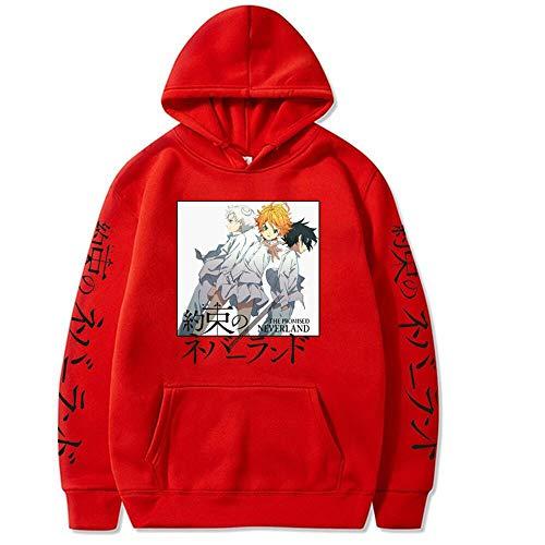 Damofy The Promised Neverland Hoodie Sportswear Anime Printed Pullover Cartoon Casual Emma Sweatshirts Norman Streetwear Ray Long Sleeves Hood Tops Tracksuits for Men Women