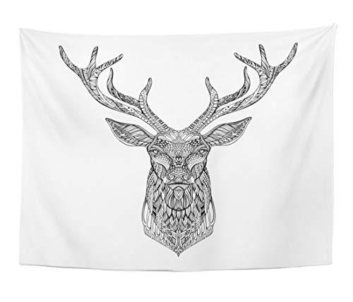 Topyee 50x60 Inch Tapestry Wall Hanging Geometric Deer Head in Zentangle Tribal Tattoo Reindeer Silhouette Antlers Home Decorative Tapestries Wall Blanket for Dorm Living Room Bedroom