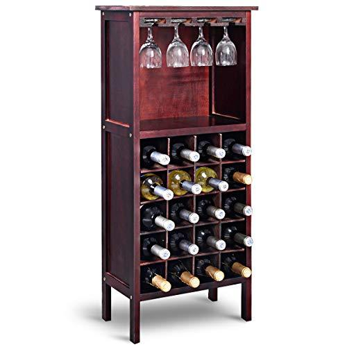 COSTWAY Wijnkast voor 20 flessen, wijn fles organisator opslag plank weergeven houten wijnrek met glas hanger en fles houder (Wijnrood)