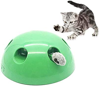 LMIX Cat Interactive Toys New Cat Toy, POP N Play Motion Cat Toy 360° Rotation Electronic Smart Random Moving Feather & Mouse Teaser Pet Supplies