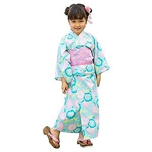 [ALICE MAGIC] 浴衣 こども 女の子 (帯 セット) 浴衣ドレス 子供服 セパレートタイプ [朝顔] キッズ ガールズ (100cm)