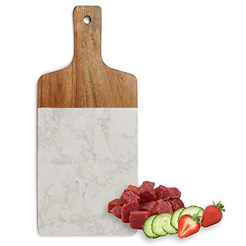 Schneidebrett aus Marmor und Holz mit Holzgriff Küchenbrett 37 x 16 x 1 cm Tranchierbrett Servierbrett Kochbrett (Schneidbrett mit Griff, Brett, Aufhängeöse)