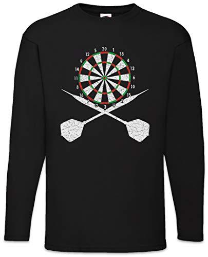 Urban Backwoods Darts Board and Crossed Darts Herren Langarm T-Shirt Schwarz Größe 3XL