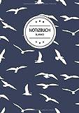 Notizbuch Blanko: Blanko Notizbuch A4 110 Seiten, Vintage Softcover, Weißes Papier - Dickes Notizheft, Skizzenbuch, Zeichenbuch, Blankobuch, Sketchbook; Motiv: Vogel Muster Vögel Schwalben