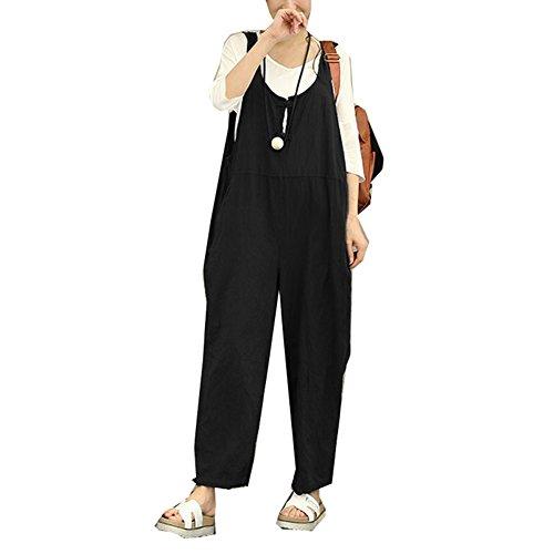 Damen Leinen Hose Pants Overall Latzhose Lange Harem Playsuit Hose Jumpsuits Overalls (EU S =Asia M, Schwarz)