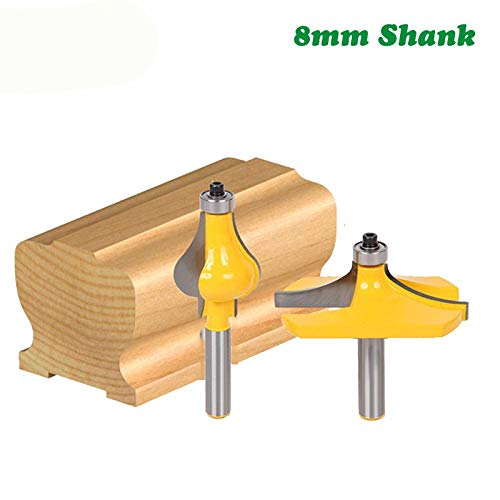FMN-TOOLS, 2 stks 8 MM Schachtarmsteun Molen Handrail Router Bits Set Golvende Fluit Tenon frees Voor Houtsnijders