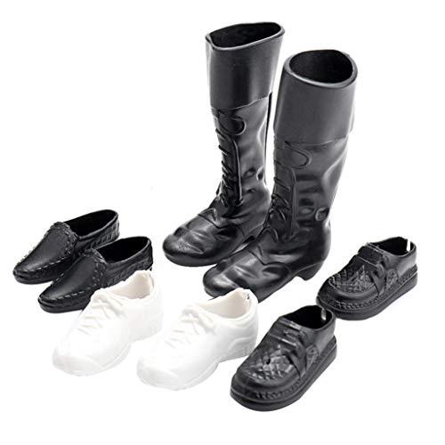Kekailu Doll Shoes,4Pairs Mini Plastic Shoes High Boots for 12inch Doll Boyfriend Accessory Toy