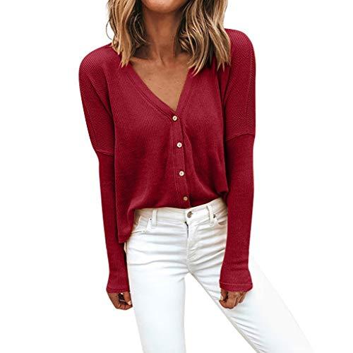 Auifor dames winter mode solide kleur V-hals lange mouwen los gebreid vest top