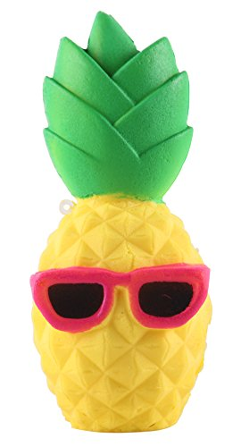 Anboor 6.3 Inches Squishies Pineapple Slow Rising Kawaii Scented Soft Squishies Toy for Kids or Stress Relief Cool Sunglasses