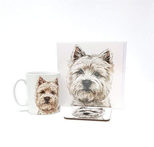 Ensemble 3 pièces Westie terrier écossais chien fabriqué en Royaume-Uni Tasse en céramique mug pot accueil carte d'anniversaire Dessous De Verre