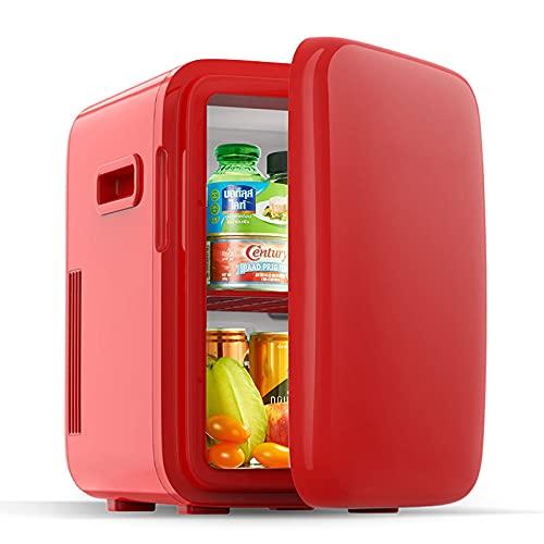 10 L Mini Nevera pequeña para Habitacion,para Soda, Skincare, Alimentos, Bebidas, Cuidado de la piel, Frigorificos Pequeños 12V/220V Refrigeración y Calefacción,Rojo