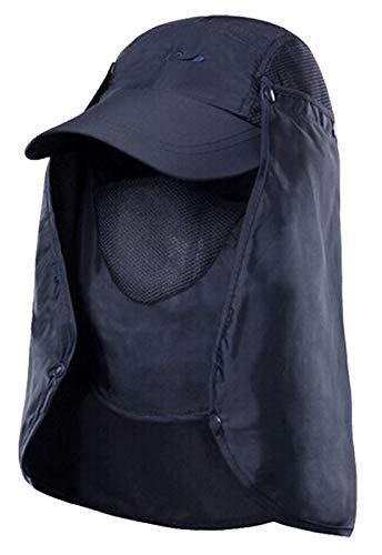 Flygo Herren Damen Outdoor 360 ° Sonnenschutz Angelkappe - Abnehmbarer Nacken- und Gesichtsklappe Abdeckkappen - Blau - Einheitsgröße