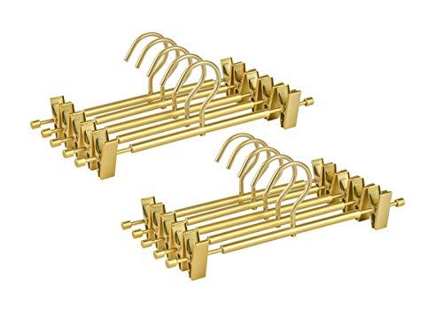 "Amber Home Premium Matte Gold Aluminum Pants Hangers 10 Pack 122"" Extra Smooth Durable Metal Skirt Slack Hanger Light Sturdy Metal Rack for Trouser with 2-Adjustable Non Slip Clips Swivel Hook"