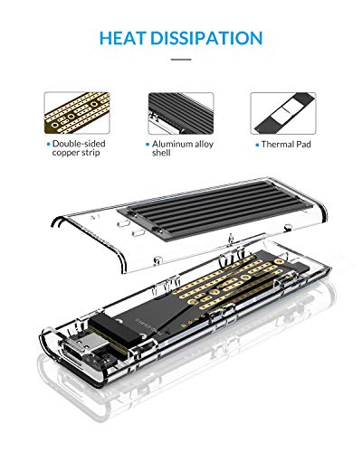 ORICO NVME M.2 a Type-C USB3.1 Gen2 Compartimiento para Adaptador ...