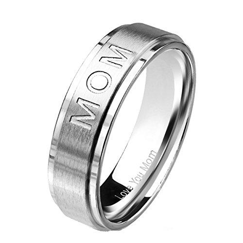 beyoutifulthings MOM Gravur Love You MOM Band-Ring sandgebürstet Chirurgenstahl 316L Verlobungs-Ring Partner-Ring Trau-Ring Silber 50(15.9)