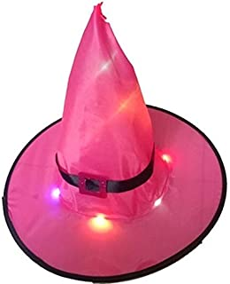 Halloween Decoration Outdoor Hanging Lighted Glowing Witch Hat Lights String Battery Outdoor Yard Tree Decorations (Rosered)