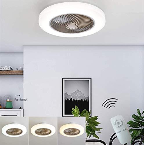 DLGGO Luz moderna sencillez Ventilador de techo con iluminación LED regulable a distancia Ventilador de techo Silencio Invisible Light Ventilador Sala de estar pendiente de la luz Comedor moderno vive