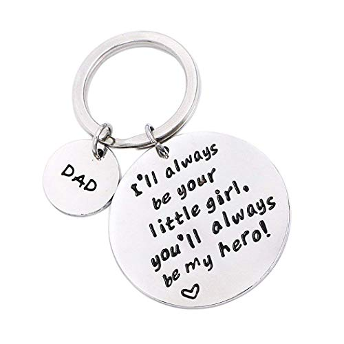Father's Day Birthday Christmas Personalized Keychain Gifts for Dad Father from Daughter, I'll Always Be Your Little Girl, Valentines Day Gift for Papa (Your Little Girl)
