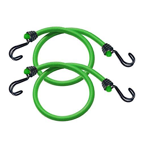 Master Lock 3021EURDAT elásticas, Paquete de 2 Tensores, 80 cm Cuerda, Gancho Invertido-Optimo para Sujetar Cargas Pequeñas, Camping, Mudanzas, Verde, Set de 2 Piezas